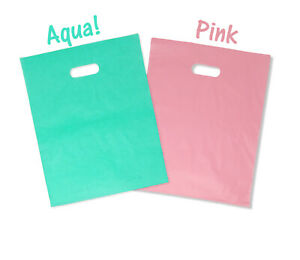 """12x15""""  2.5 Mil, 4 Colors Frosted Plastic Merchandise Gift Bags Handles Combo!"""