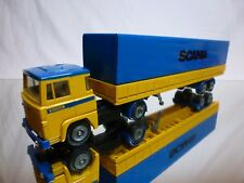 TEKNO HOLLAND SCANIA 141 TRUCK + TRAILER - YELLOW + BLUE 1:50 - GOOD CONDITION