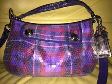 Authentic COACH Love Poppy Limited Edition Sequins Tartan Plaid Hobo Bag Purse