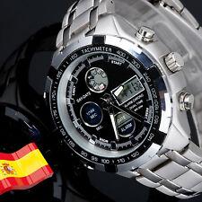 Reloj LED de Hombre Digital Deportivo Militar Acero Dual Resist Doble Hora Negro
