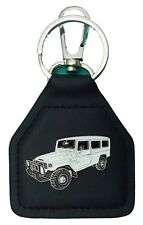 Toyota Landcruiser Troop Carrier White Leather Keyring /Keyfob