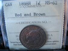 """1898 Canada 1898H SCARCE High """"H"""" variety Large cent """"MS-62"""" grade REF: XSP-033"""