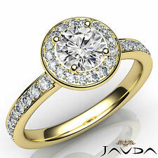 Round Cut Diamond Halo Pave Set Engagement Ring GIA E VS1 18k Yellow Gold 1.17Ct