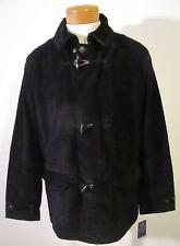 NWT Nautica Seaborne Mens Genuine Suede Leather Coat Jacket L Black MSRP$798