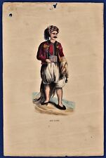 vintage hand coloured lithography arab native Algeria lithographie Algerie 1840