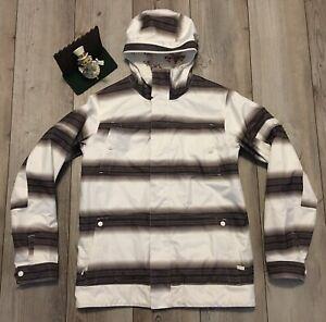 Burton White Collection DryRide White Gray Striped Snow/Ski Jacket - Sz Small