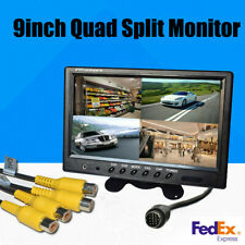 9 Inch TFT LCD Quad Split Screen Car Bus Truck Rear View Monitor Display +Remote