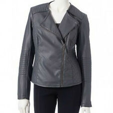 NEW $84 Apt. 9 Womens Faux-Leather Moto Ladies Motorcycle Jacket GRAY sz XS