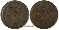 US Copper 1851 Braided Hair Large Cent 1 c. (17 103)