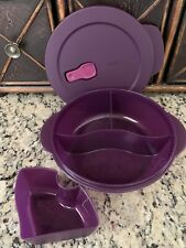 NEW TUPPERWARE ROUND DIVIDED CRYSTALWAVE LUNCH IN DISH WITH COLD CUP MICROWAVE