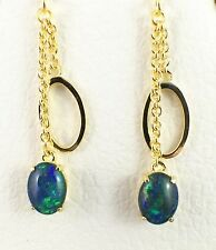 Unique Hoop Drop Triplet Opal Earrings / Classy Lady / Dangling 18ct Gold Plated