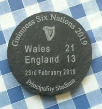 slate coasters rugby memorabilia Guinness Six Nations 2019 8cm dia.