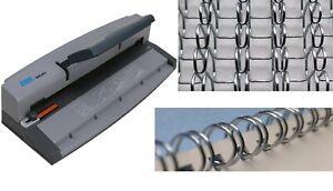 Wire Binder BOOK BINDING MACHINE Machine & Closer WITH 100 SILVER Binding Wires