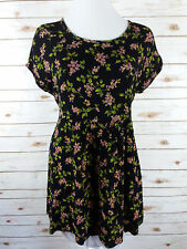 Vintage 90s Grunge Black Floral Mini Dress M Tie-back Boho Festival Babydoll USA