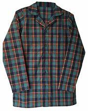 "Mens 100 Cotton Button up Long Sleeve Check Tartan Nightshirt Tshirt Nightwear XL 42-44"" Chest"