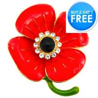 NEW RED ENAMEL CRYSTAL ANEMONE ROSE PIN BACK FLOWER BROOCH 2020 COLLECTION BADGE