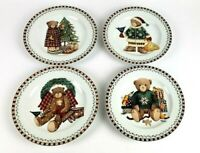 """Vintage Sakura Debbie Mumm Christmas Bears Set Of 4 Salad/Dessert Plates 8"""""""