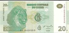Congo 20 Francs 🍁🦁 P-94; 2003; Unc 🍁🦁 Lions Head 🦁 and 🦁Lion Pride on back