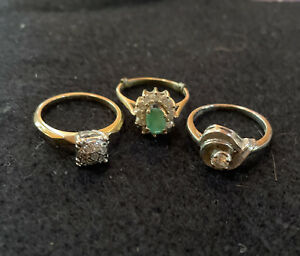 3 Rings 14K White & Yellow Gold Diamond Emerald? Size 5.5/6.25/6.5 See Pics Read
