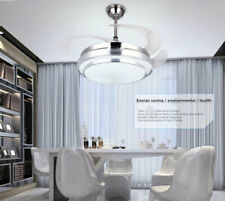 """42"""" Invisible Ceiling Fan Light LED Modern Dimmable Chandelier Lighting Remote"""