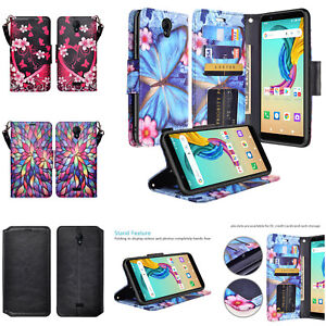 For AT&T Fusion Z / Motivate Case Flip Phone Kickstand Stand Wallet Case Cover