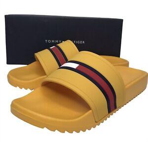 Tommy Hilfiger Mens Redder Pool Slide Sandals Yellow Black Red Slip On siz 10 11
