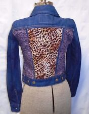 Urban Outfitters Urban Renewal Leopard Patched Levis Denim Jean Jacket Size XS