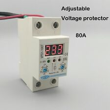 80A 220V Din rail adjustable voltage protective device relay with voltmeter