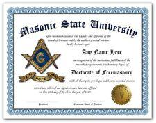 Masonic University Freemason Certificate Diploma w/Gold Seal Novelty Logo - Gift