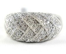 Round Diamond Cluster Pave Dome Ring Band 18k White Gold .87Ct
