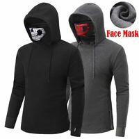 Men Casual With Face Mask Fleece Hoodie Sweatshirt Tops Pullover Sweater Coat