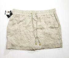 NWT Ellen Tracy Beige linen skort skirt built in shorts