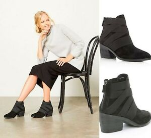 Eileen Fisher Willis Black Suede Ankle Boots Booties 6, 6.5, 7, 7.5, 8, 8.5