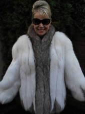 White Gray Silver FOX Fur Jacket Coat Stroller M #692A GLAM!