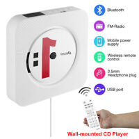 CD Player Wall Mountable Bluetooth Audio LED USB FM Radio Remote Control Speaker
