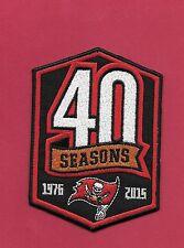 """New Tampa Bay Bucs 40 Seasons 2 1/2 X 3 1/4  """" Iron on Patch Free Shipping"""