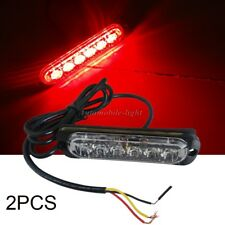 2Pcs RED 18W 6 LED MINI emergency Bar Beacon Warning Hazard Flash Strobe Light