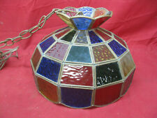 Vintage Tiffany-style Multi Colored Stained Etched Glass Hanging Lamp Shade