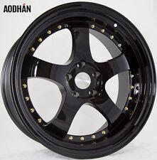 19X9.5 +12 Aodhan Ah03 5X114.3 Black Rim Fits SUBARU STI WRX WAGON 5X4.5 STANCE