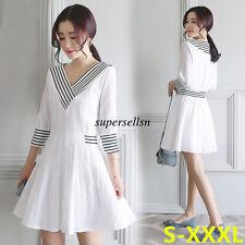 Fashion Womens Lady Summer A Line Slim Tunic Evening Party Short Dress White M