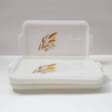 Vintage Anchor Hocking Fire King Milk Glass Wheat Pattern Luncheon Snack Trays