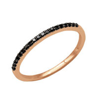 0.30Ct Round Cut Black Diamond Stackable Wedding Band Ring 14K Rose Gold Over