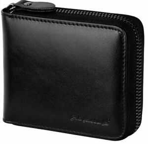 Admetus Men's Genuine Leather Short Zip-around Bifold Wallet Black B-19 NEW