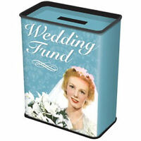 NEW WEDDING FUND MONEY BOX PIGGY BANK METAL TIN RETRO BRIDE FUNNY GIFT SAVINGS