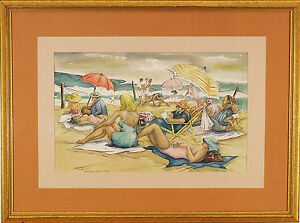 James Carlin (American 1909-2005) Watercolor Painting  Signed Dated Beach Water