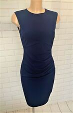 Dark Blue Ruch Front Wiggle Pencil Smart Office Shift Dress Size 10-18