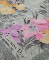 Christian Dior Iris Grey Neon Pink Purple Orange Vintage Silk Scarf Wrap