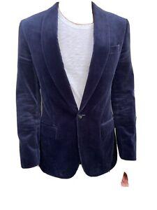 mens Velvet suit jacket blazer dark navy