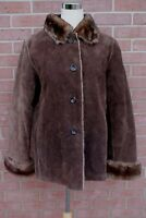 New York & CO Brown Suede Leather Coat Faux Fur Lined Women's Size S