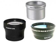 Wide + Tele Lens + Tube Adapter bundle for Canon Powershot A590 IS A570 IS